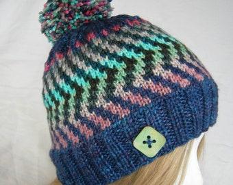 Luscious Electric Fair Isle beanie hat button hat hand knit cashmere silk merino blend luxury yarn winter pom pon hat