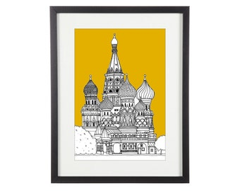 St Basils Cathedral Print | St Basils Illustration | Moscow Print | City Prints | Architectural Print | Architectural Drawing