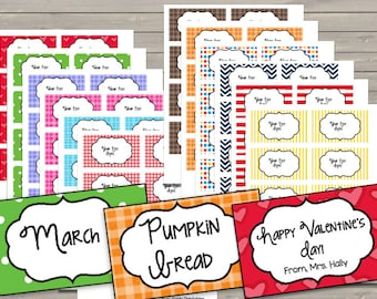 50% OFF SALE Labels - Note Cards {EDITABLE} Monthly - Entire Year - Valentine's Day - Easter - Holidays - Organize - Crafts
