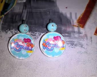 colorful Kawaii cabochon earrings