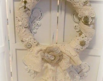 Rustic burlap and lace wrap wreath Rustic Farmhouse county chic wedding ECS OFGteam RDT SVFteam FVGteam
