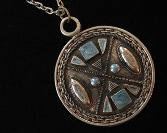 Pewter Enamel Statement Pendant Necklace