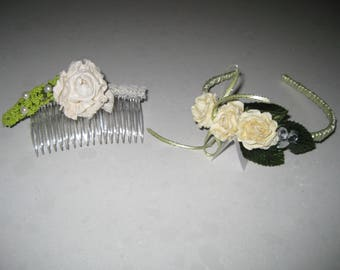 Springtime Celebration with Bling, Lace and Pearls Broom Collection: Hair Accessories
