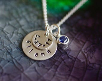 Name and Birthdate Necklace - Mom Necklace-  Birthday Necklace - Personalized Name Jewelry - Sterling Silver - Name Necklace - Gift For Her