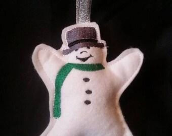 Handmade Embroidered happy snowman tree decoration