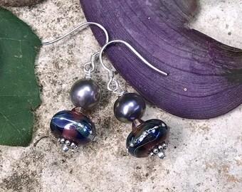 SALE Handmade Opal Luster Glass Lampwork Pearl Dangle Earring SRA- Bastet's Beads- Purple Luster