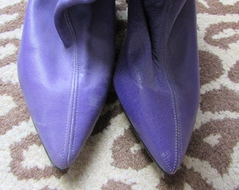 Purple Leather Boots - London 80s Rocker