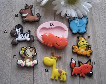 Animal Silicone Molds - Monkey Mold - Giraffe Mold - Elephant Mold - Zebra Mold - Food Safe Mold - Silicone Mold - Fondant Mold - Mold