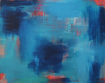 She Shimmers In Lake Blue 2 // Artist Charlie Albright // Blog Moments by Charlie // Abstract Art in Acrylic Paint