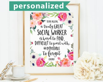 Social Worker Gifts, A truly great social worker is hard to find, Office Decor, Office Gift, Retirement Gift, Personalized, Custom Quote Art