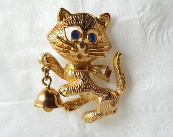 Vintage Cat Brooch Vintage Cat Pin Avon Kitty Pin Cat Bell Pin Brooch
