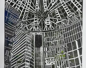 Linocut Print – SONY CENTER