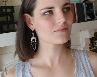 Silver, beaded dangle earrings with iridescent, jewel tone seed beads and black crystal pearls