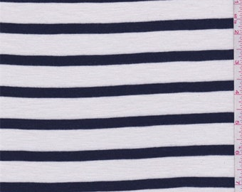 White/Navy Stripe Knit, Fabric By The Yard