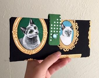 Fancy Cat Portraits in Golden Frames Print - Long Wallet Clutch - Card Slots, Zipper, Cash