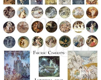 Vintage FAIRY CHARMS digital collage sheet, Victorian fairies, circles pendants jewelry bottlecaps inchies, altered art ephemera DOWNLOAD