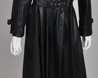 1990's Gaultier Jet black Long Rain Trench Made in Italy Stunning Matrix piece