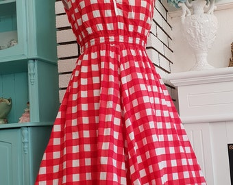 Lovely Red 1950 style dress Swing Dress Fit and Flare