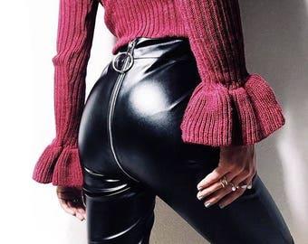 BLACK LEGGINGS ZIP - Eco-leather on the samples - Polyurethane-100%