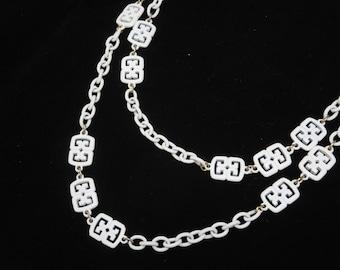 White Enamel Necklace - Vintage Trifari Asian Style Costume Jewelry, Long Necklace