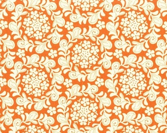 SALE Petit Henna garden in Orange from the Strawberry Moon fabric collection by Sandi Henderson of Portabellopixie for Michael Miller