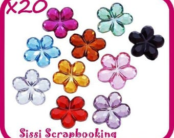 WHOLESALE LOT 20 large RHINESTONE flower to be stuck MULTICOLOR SISSI SCRAPBOOKING 15 m
