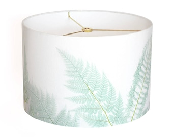 X-LARGE Linen Sea Glass Fern Lamp Shade - Sea Glass Aqua Sea Glass Green - 16 17 18 Inch Drum Lamp Shade - Custom Made to Order Lamp Shade