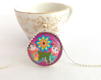 Russian doll necklace, matryoshka doll pendant, kawaii doll jewelry, colourful necklace