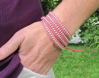 Pink Leather With Silver Bead Leather Wrap Bracelet - Breast Cancer Awareness