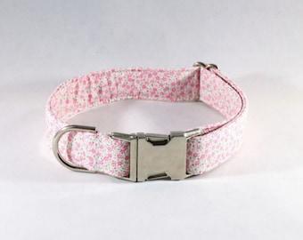 Pink Posy Floral Girl Dog Collar
