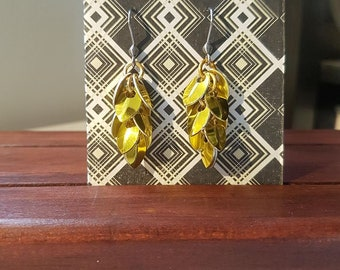 Yellow Scale maille earrings - chain maille earrings