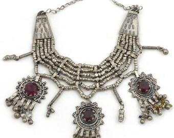 Rare old, vintage Silver Yemen Kirdan Bedouin necklace. Free shipping worldwide!