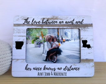 Long Distance States Gift for Aunt Niece Frame Aunt Frame Love Knows no Distance Quote Morher's Day Gift for Aunt Frame