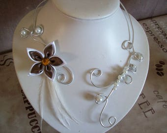 Bridal necklace wedding aluminum wire silver white satin flower / brown feathers evening ceremony Christmas