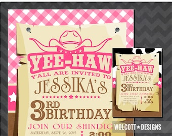 Cowgirl Invitation - Cowgirl Birthday Invite - Cow Girl Invite - Yee-Haw - Pink Western - Western Invitation Printable