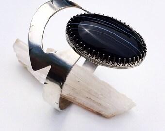 Black Sardonyx//Silver//Cuff//Boho//ArtDecoStyle//Statement Bracelet