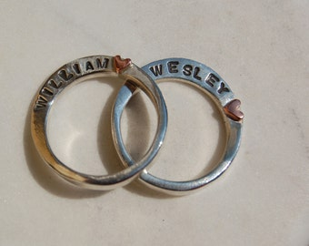 SPECIAL HEART RING Set  - Forged Silver Bands with Name - Great Stacking rings  - Unisex Style