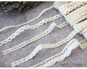 Cotton Ivory beige Lace 2, 5 ,10 meters
