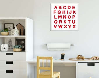 Alphabet Art Printable Red , Playroom Wall Art Alphabet, Letters Printable, Toddler Room Red Boy Desk Nursery Alphabet Artwork Wall