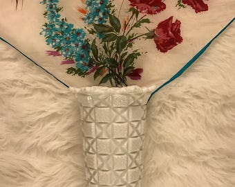 Westmoreland Glass White Scalloped Vase Old Quilt Block Milk Glass Pattern