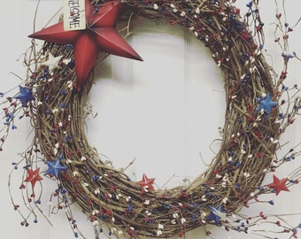 Fourth of July Wreath, Red White and Blue Pip Berry Wreath, Primitive Americana Wreath, Rustic Fourth of July Wreath