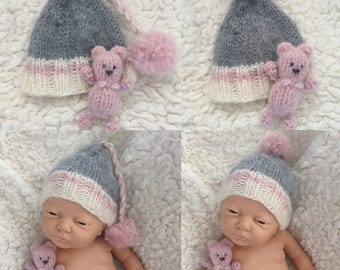 Newborn size knit long tail pompom work sock style hat, buddy bear, prop, gift, coming home, work sock