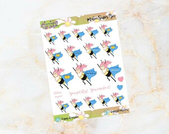 Mabee : Super Bee- You can do it - Handdrawn stickers for your planners, journals etc.