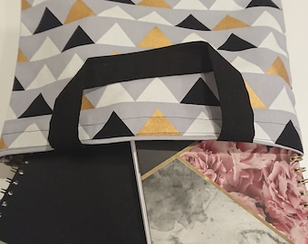 TRIANGLE TOTE in Grey, Black, White, and Gold