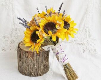 Dried Flower Bouquet, Wedding Bouquet, Lavender Bouquet, Bridal Wedding Lavender Bouquet, Burlap Wedding Bouquet, Wedding Sunflower Bouquet