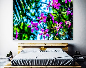 Orchid Print On Canvas    Orchid Flowers Wall Decor    Colorful Wall Art     Floral Decor   Vibrant Colors   Colorful Flowers   Orchid Tree