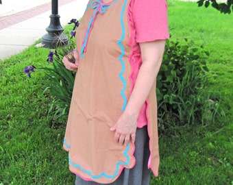 Vintage Full Apron; Brown with Pink and Aqua Scallop Trim. Grandmas Handmade, Gingerbread Lady, 1950 Housewife,  Retro, Cook  Apron.