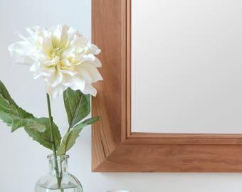 Cherry Mirror With Trim - Wooden Mirror - Wall Mirror - Large Wood Mirror - Rustic Mirror - Farmhouse Mirror - Free Shipping