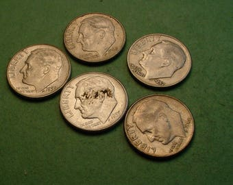5 Pcs Different US Silver Dimes for Ten American Dollars<> Great Survival Money <> The Coins you see are the coins you get<> # ET3239
