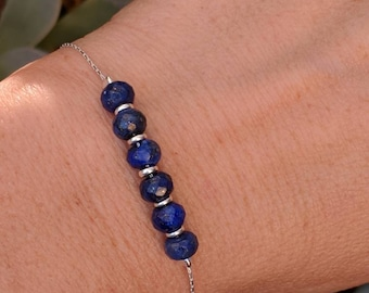 lapis bracelet. Your choice of gold filled or sterling silver